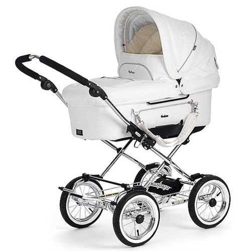 White leatherette pram pushchair babies nurserys for Mercedes benz baby pram