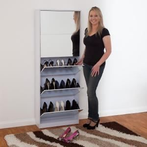 Buy Mirrored Shoe Cabinet - Stylish and economical storage solution for your shoes and allowing you to see them before you step out the door.