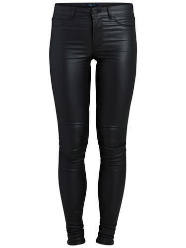 #PIECES #Damen #Jeggings #beschichtet #schwarz - Beschichtete Oberfläche - 5 Taschen - Gürtelschlaufen - Knopf- und Reißverschluss - Tight-fit