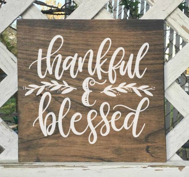 Thankful and Blessed sign. Holiday home decor. Christmas