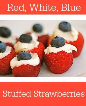 Red, White and Blue Stuffed Strawberries -- patriotic perfect for Memorial Day,
