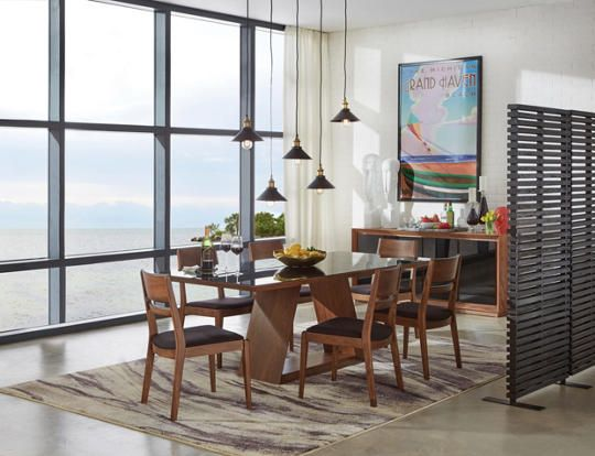 Beautiful Modern Dining Is Here Featuring Sleek Lines Black Glass And A Walnut Finish