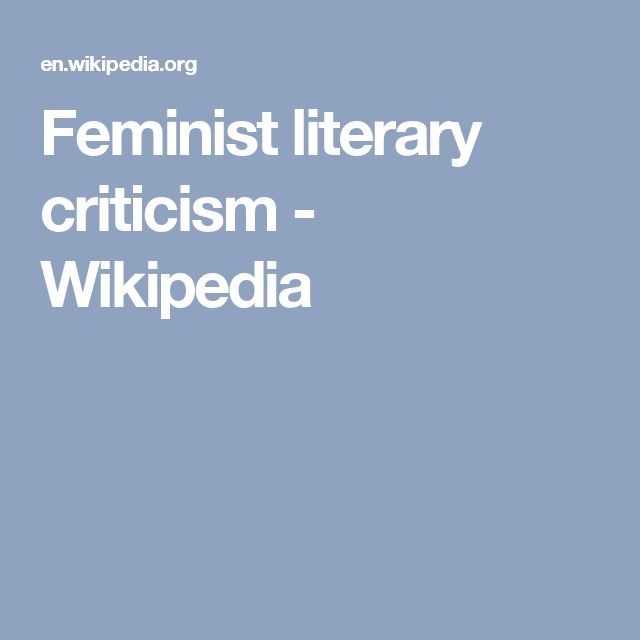 Feminist literary criticism - Wikipedia