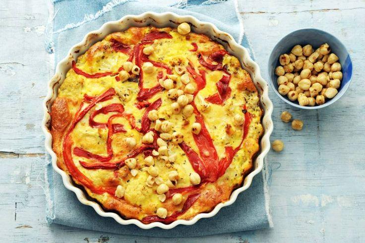 Kijk wat een lekker recept ik heb gevonden op Allerhande! Bloemkoolfrittata met paprika en hazelnoten