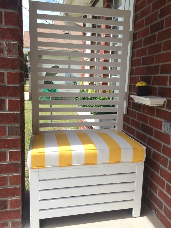 outdoor privacy screen bench ikea applaro i painted it white and had a cushion - Apartment Patio Privacy Ideas