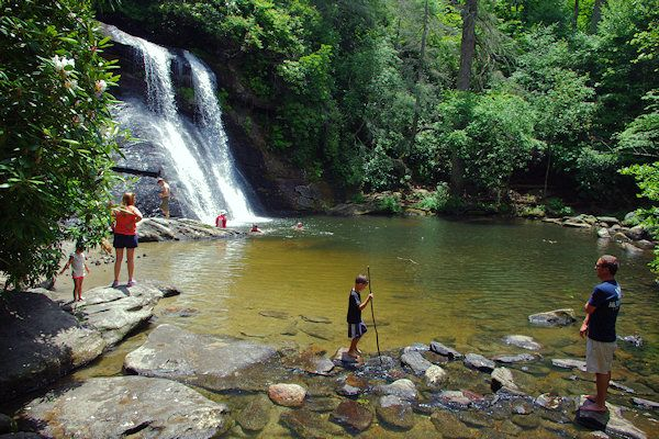 Secret Falls, Highlands NC. Swimming hole by waterfall that's easy enough for the whole family to hike to.