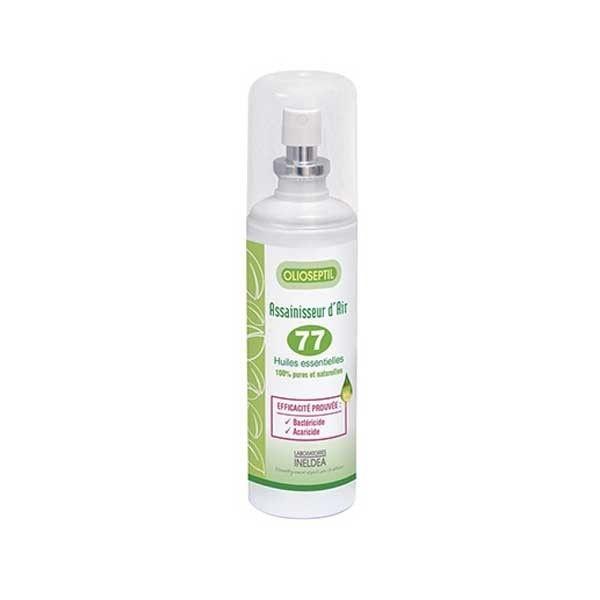 Sa formule est un complexe de 77 huiles essentielles, pures et naturelles, sélectionnées pour leurs propriétés. Ce spray assainisseur d'air est bactéricide et acarcide et est idéal afin de respirer un air plus sain, plus pur en créant une ambiance olfactive propice au bien-être. Il peut être utilisé dans toute la maison ou autres endroits de vie afin de toujours être dans un environement sain.  #santediscount #ineldea #assainisseur #maison #hygiene #bienchezsoi