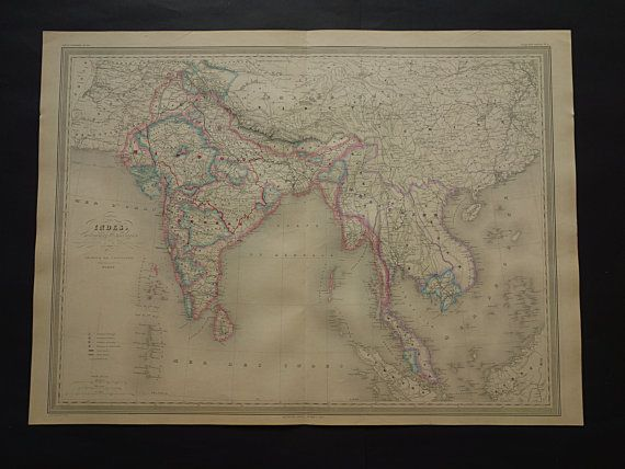 INDIA old map LARGE 1866 hand colored original by DecorativePrints