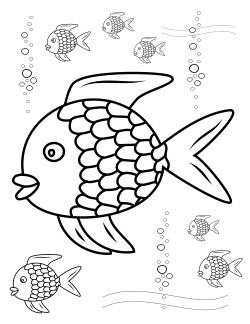 vis in kleuren en foli stukjes op een paar vinnen plakken