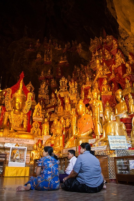 The Pindaya cave (Burma) contains around 8000 Buddha statues donated by religious people