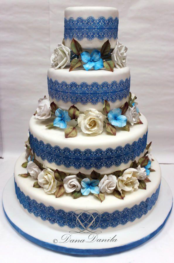 A simple cake in white and blue - Cake by Dana Danila