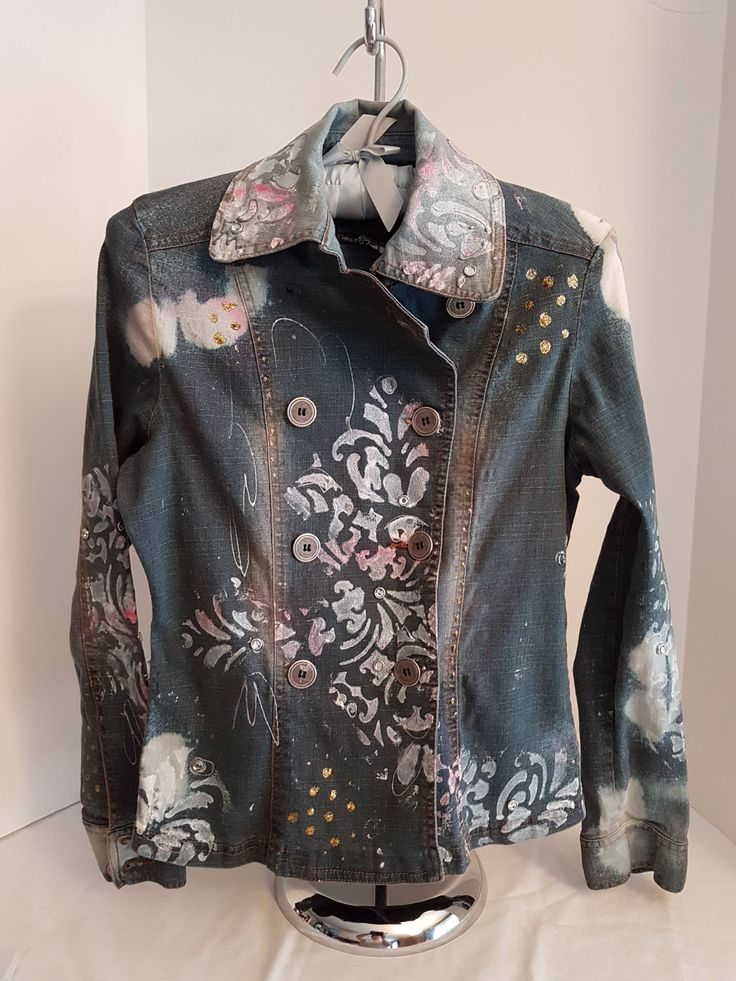 Vintage Women's / Girl's, Stretch Denim Hand Painted & Embellished, BoHo Bohemian Bleached Jean Jacket, Scolls, Rhinestones-Small by FabBoho on Etsy