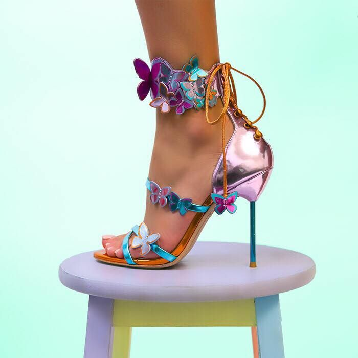 Sophia Webster 'Harmony' Metallic Leather Butterfly Sandals