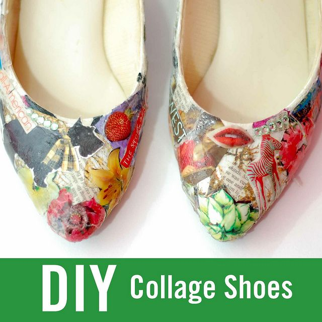 DIY Collage ShoesHow to Make these Shoes:  These shoes were made by just hot-gluing the pictures on and then adding Shoe Goo on top. (You can find Shoe Goo in Walmart, Target, or any other store like that.) You spread the Shoe Goo with an ice cube and it does not stick to everything. I used Shoe Goo instead of Mod Podge because the Shoe Goo is flexible and it won't crack like Mod Podge. :)