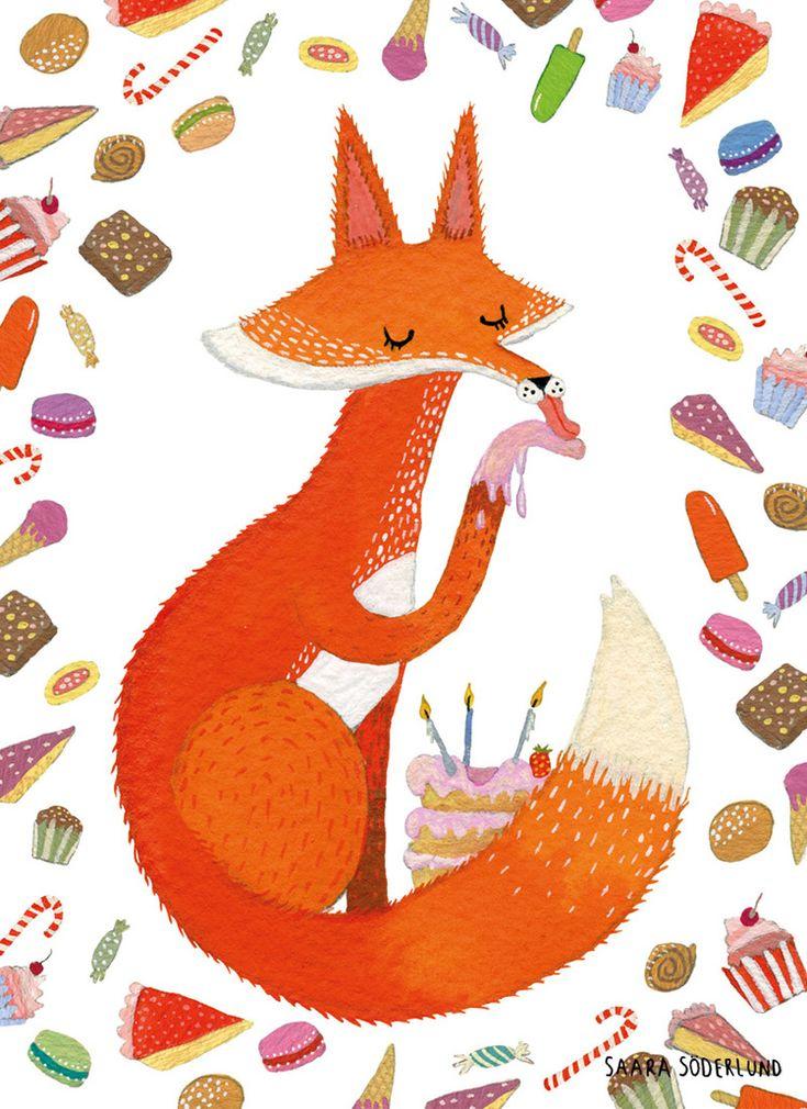 Fox with cake by Saara Katariina Söderlund