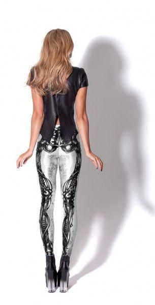 Black Milk Leggings Mechanical Bones White