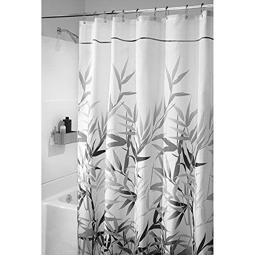 Interdesign 36595EU Anzu Weicher Stoff-Duschvorhang Bambus, 180 x 200 cm, schwarz/grau