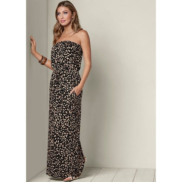 Venus Women's Strapless Printed Dress ($50) ❤ liked on Polyvore featuring dresses, brown, brown maxi dress, strapless maxi dress, brown strapless dress, elastic waist maxi dress and maxi length dresses