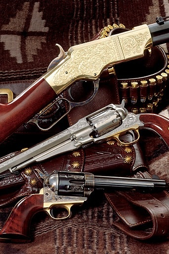 Love the Historic Firearms - 1860 Henry rifle, 1858 Remington revolver, and 1873 colt single action army