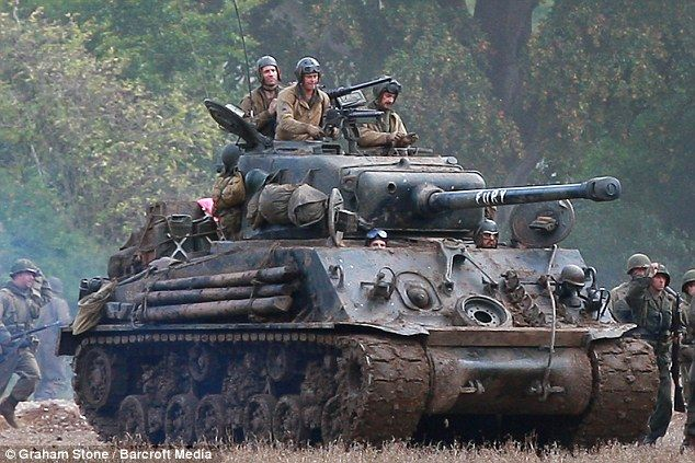 Brad Pitt - Fury Pulling out the big guns: The actors film on location as villagers were warned to expect 'gunfire'