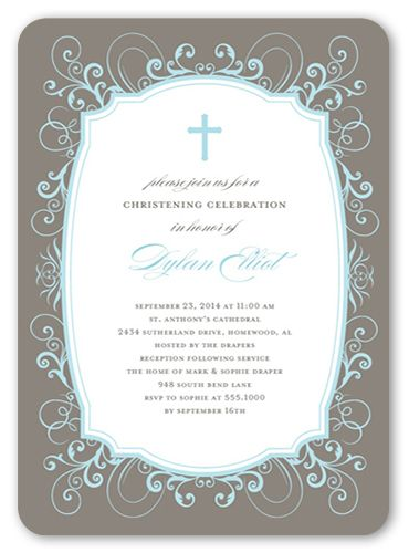 flourished border boy 5x7 christening invitations