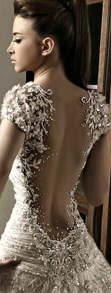 Pretty beaded wedding dress bridal gown low open back for Back necklace for wedding dress