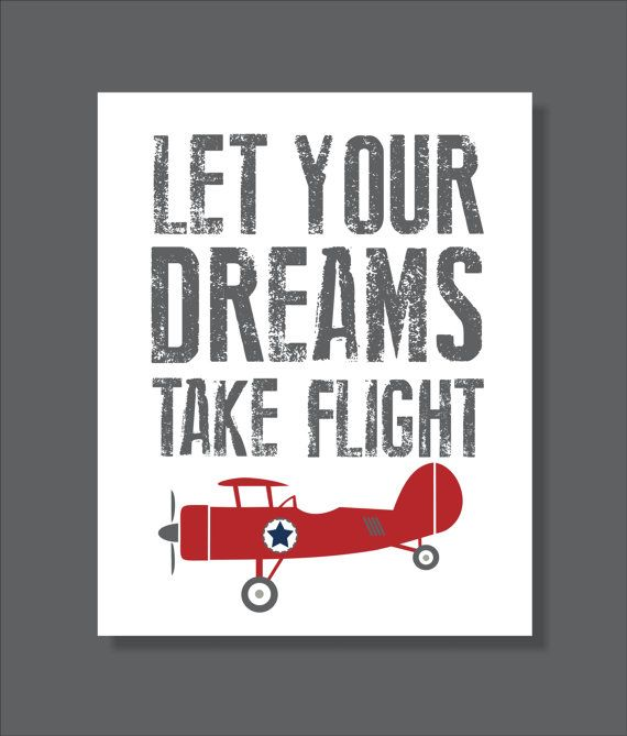 Vintage Airplane Printable Wall Art Dream Flight by FieldandFlower