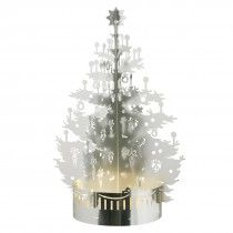 Tea light holder - Christmas tree (exclusive tray) - Silver