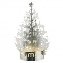 Tea light holder - Christmas tree (exclusive tray) - Silver