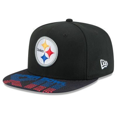 Men's New Era Black Pittsburgh Steelers Super Bowl XIII On The Fifty Jumbo Vize Original Fit 9FIFTY Adjustable Hat