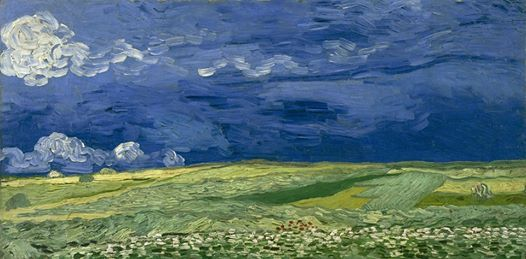 Art of the Day: Van Gogh, Wheatfield under Troubled Skies, July 1890. Oil on canvas, 50 x 100 cm. Van Gogh Museum, Amsterdam