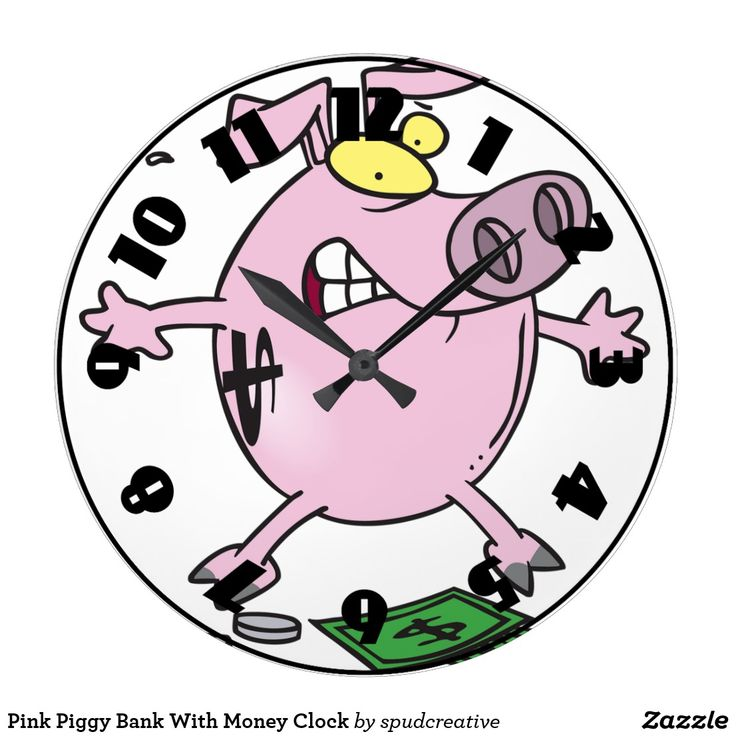 Pink Piggy Bank With Money Clock   #guineapig #pig #funnyAnimals #cartoonAnimals #WallClock
