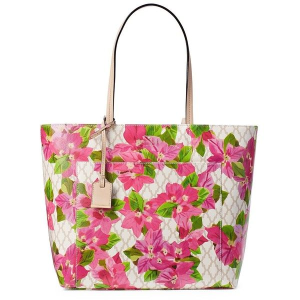 Kate Spade New York Floral Riley Leather Tote ($198) ❤ liked on Polyvore featuring bags, handbags, tote bags, floral multi, handbags totes, white leather purse, white leather tote bag, leather tote bags and leather tote handbags