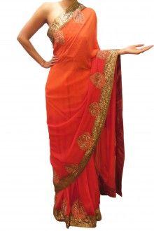 Orange Red & Gold Sari By Bubber Couture  #sari #orange #gold #gorgeous #dramatic #pretty #indianwear #indiandesigner #indianfashion