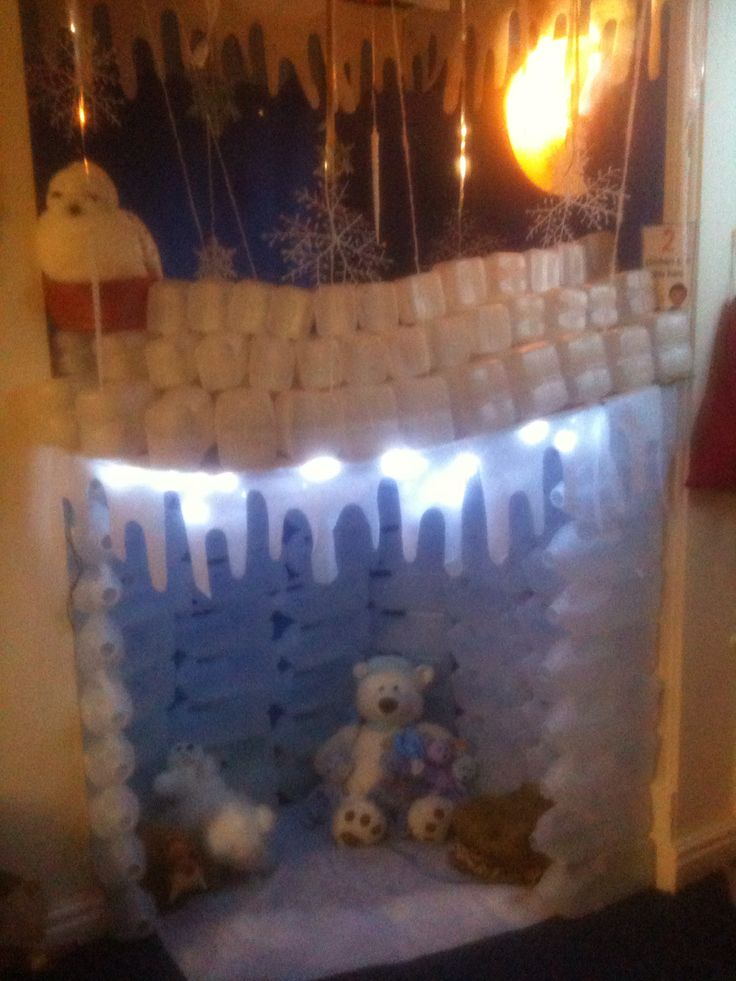 Could use blue pop up tent, white felt for snow and some polar bears and lights :)