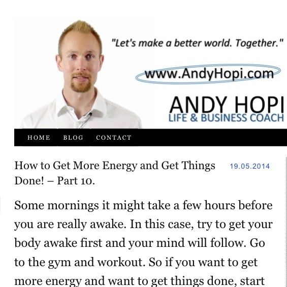 How to Get More Energy and Get Things Done! – Part 10.  Some mornings it might take a few hours before you are really awake. In this case, try to get your #body awake first and your #mind will #follow. Go to the #gym and #workout. So if you want to get more energy and want to get things done, start your morning sweating!  #dreams #goals #challenge #motivation #love #life #inspiration #energy #power #selfhelp #gtd #cool #change #winning #amazing #succees #free #freedom #smile…