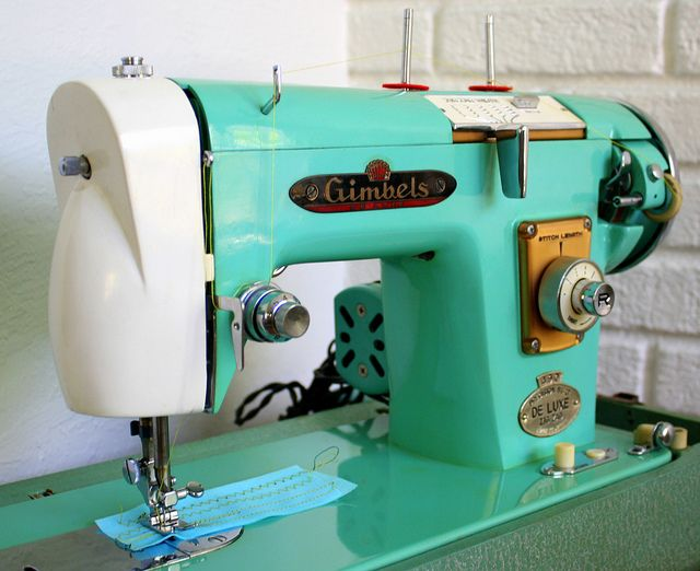 old turquoise sewing machine