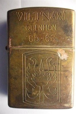 Vietnam War Lighter _ QUI NHON 1965 1966 _ Zippo Military