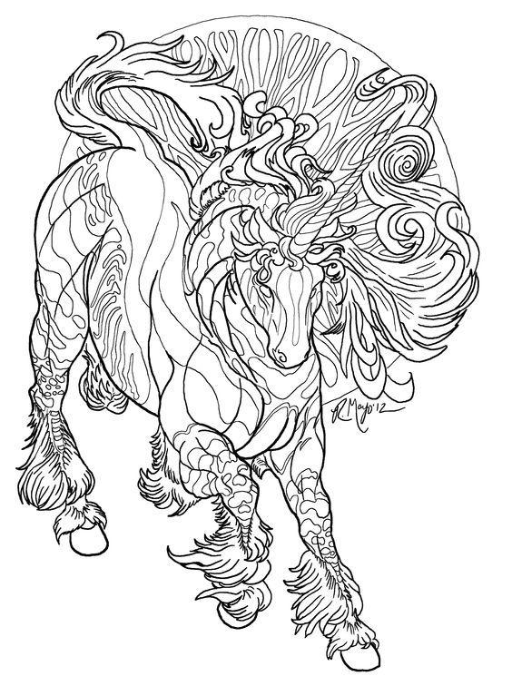 unicorn coloring page - Art Nouveau Unicorn Coloring Pages