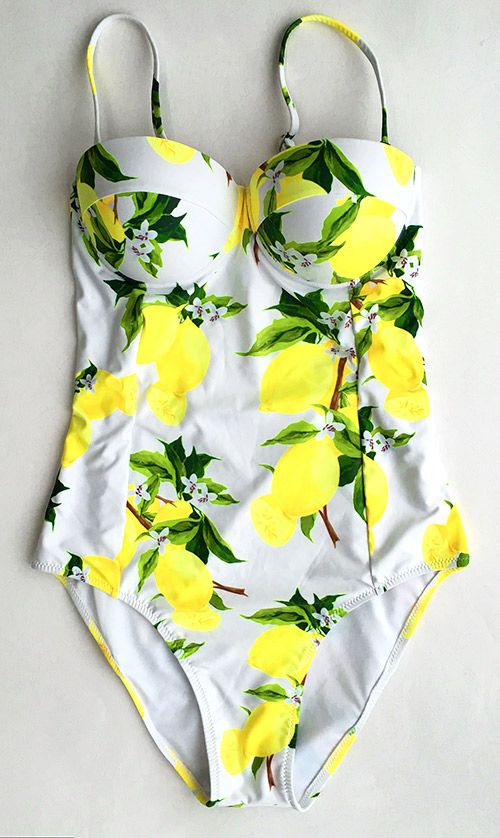 You wanna know what we love most about this Wow-worthy swimwear? The design comes down the entire piece and it is a stunning look of bright color, lovely lemon printing. You will want to pull it out of your closet to next beach trip.