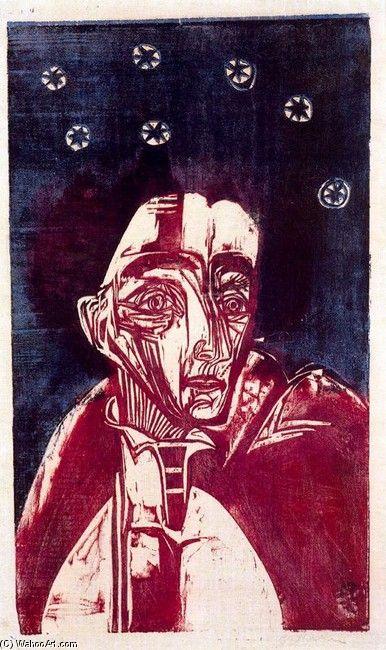 Ernst Ludwig Kirchner, Mujer en la noche, #woodblock