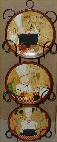 Fat Chef Wall Plates Decorative Bistro Decor 3 Pasta 1 Ebay