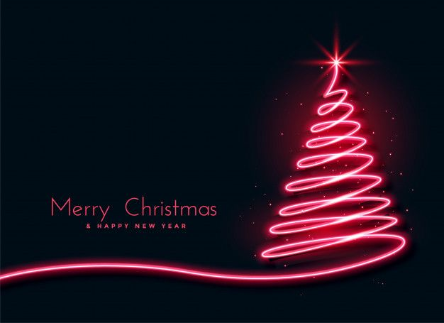 Red Neon Christmas Tree Creative Design Background Free Vector Merry Christmas Wallpaper Christmas Graphic Design Christmas Vectors