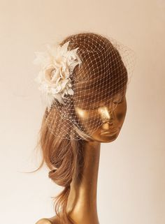 Hey, I found this really awesome Etsy listing at https://www.etsy.com/listing/184074231/ivory-birdcage-veil-with-cream-flower vintage wedding headpiece hat veil 50s 40s 60s