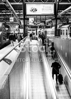 Escalators in Midi Station, Brussels, Belgium Royalty Free Stock Photo