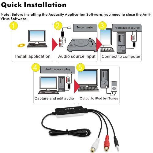 V.TOP AV202 USB 2.0 Audio Capture Digital Audio Grabber Cassette Tapes to MP3 Converter Analog to Digital Audio for Windows 7 8 10 Mac OS