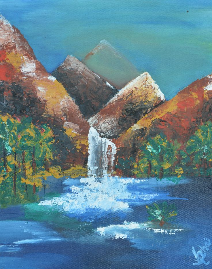 waterfall on canvas with acrylic painting