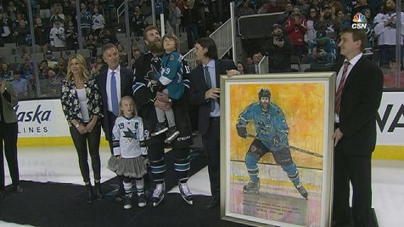 Sharks honor Thornton's milestone  Joe Thornton is honored by the Sharks in a pregame ceremony for becoming the 13th player in NHL history to record 1,000 career assists
