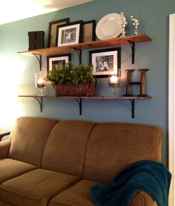 Family Room: Build Unique Statement Using Accessories For Family Room  Decorating Ideas Blue Wall Color With Floating Wooden Shelves Using  Decorative ...