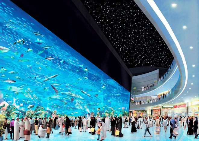 The World's Largest Shopping Mall Dubai with Aquarium and Underwater Zoo